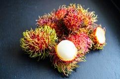Rambutans ripe tropical fruits. Studio Photo Royalty Free Stock Images