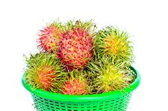 Rambutans tropical fruit on basket. Rambutans tropical fruit on green basket in Thailand Stock Photo