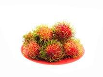 Rambutans. Tropical fruit on white background Royalty Free Stock Image