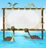 Ramdesign med dinosaurier i havet Arkivbild