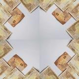 ramdesign med 50 euroräkningar, bakgrund och textur Arkivbild