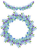 Rame border, garland and wreath of the watercolor blue forget-me-not flowers (Myosotis), lavender flowers and spikelets Stock Images