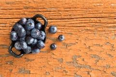 Ramekin świeże dojrzałe czarne jagody Fotografia Royalty Free