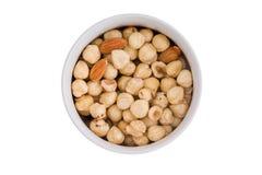 Ramekin av nya hasselnötter och mandlar Fotografering för Bildbyråer