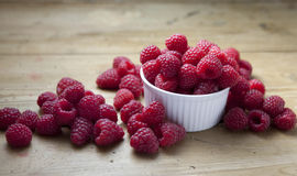 Ramekin rasberries Stock Photo