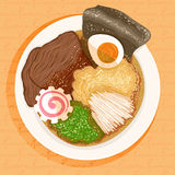Ramen. Dish prepared with ramen with beef on an orange background Royalty Free Stock Photography