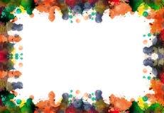 Ramen av fläckar och färgstänk från vattenfärg målar i höstsänka stock illustrationer