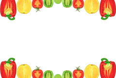 Ramen av halvorna av frukten och grönsakerna på en vit bakgrund. Royaltyfria Foton