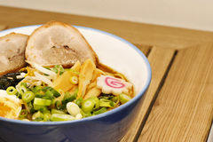 Ramen in a blue bowl Stock Images