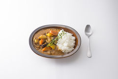 Ramen bowls of curry dish with rice, potatoes, eggplant and herb Stock Photography