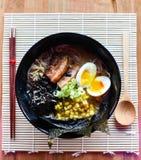 Ramen del miso della carne di maiale di Chashu Immagini Stock