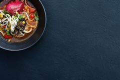 Ramen traditional food asian cuisine background. Ramen dish on dark background. Traditional Asian fast food meal. Delicious noodle soup royalty free stock images