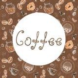 Ramen f?r begreppet av kaffedesignen med bilden av kaffe, koppar, rullar, p? burk och bokst?ver Skissa diagram f?r designtryck royaltyfri illustrationer