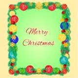 Ramen för glad jul från julgranfilialer dekorerade vektorn Royaltyfria Foton