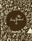 ramen för juldesignteckningen skissar ditt stock illustrationer