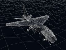 ramen för tråd 3d skissar av fluga för bålgeting F-16 över havet Royaltyfria Bilder