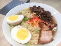 Ramen. Fresh ramen noodles made from scratch with all the fixings, eggs, pork and pickled mushrooms Royalty Free Stock Photography
