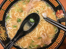 Ramen. Fresh ramen noodles made from scratch with all the fixings, eggs, pork and pickled mushrooms Stock Image