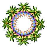 ramen gömma i handflatan den tropiska runda treen vektor illustrationer