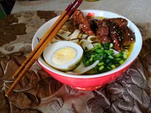 Homemade ramen with pork and chicken. royalty free stock photography