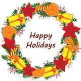 Ramen i form av en julkrans dekorerade med gåvor stock illustrationer