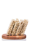 Ramen instant raw noodles on wooden plank standing up Stock Photo