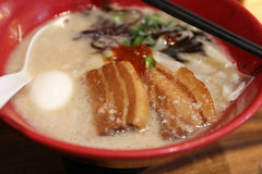 Ramen. Japanese style noodle in a red bowl Royalty Free Stock Images