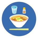 Ramen Japanese style. Chopsticks, illustration Royalty Free Stock Photos