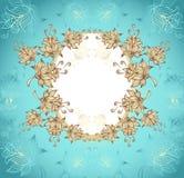 Ramen med abstrakt begrepp blommar på blå bakgrund Arkivbild