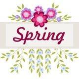 Ramen med rosa färger och lilor blommar för inskriften white för vektor för bakgrundsillustrationhaj vektor illustrationer