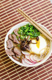 Ramen with miso and poached egg Royalty Free Stock Image