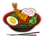Ramen Noodle Bowl. A Japanese style noodle bowl with ramen noodles, narutomaki, shrimp tempura, hard boiled egg, bok choy and chives. The egg/narutomaki/chives/ Stock Photography