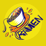Ramen noodle graffiti. A yellow blue orange Ramen noodle graffiti Royalty Free Stock Photos