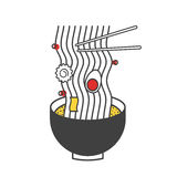 Ramen Noodle Icon Ilustratiion Concept stock illustration