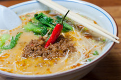 Ramen, noodle in sesame soup with spicy ground pork Royalty Free Stock Image