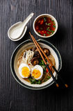Ramen noodles with egg and mushrooms Stock Photos