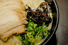 Ramen noodles in shoyu soup, Ramen Japanese food very popular in asia. Ramen noodles served with pork stock photos