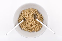 Ramen Noodles. In a white Bowl. Isolated on white Stock Images
