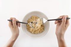 Ramen Noodles. In a white Bowl.  on white Royalty Free Stock Photos
