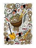 Ramen- och sushiklotterstil räcker den drog kulöra illustrationen Japansk mat asiatisk kokkonst stock illustrationer