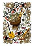 Ramen- och sushiklotterstil räcker den drog kulöra illustrationen Japansk mat asiatisk kokkonst royaltyfri illustrationer