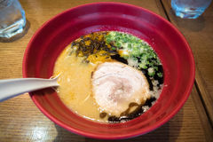 Ramen with pork in big red bowl Stock Images