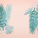 Ramen som göras med tropiska sidor för turkos på pastellfärgad rosa bakgrund, bästa sikt, lägger framlänges Id?rik botanisk orien royaltyfri foto