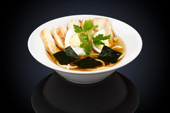 Ramen soup with chicken in a white plate Royalty Free Stock Photography