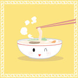 Ramen soup egg, chives. Yellow background Royalty Free Stock Photos