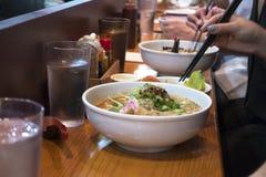 Ramen soup and restorant bar. Eating ramen at the bar Stock Photo