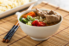 Ramen with vegetables and soy meat. Shoyu ramen noodle soup with veggies, ginger and soy meat Stock Image
