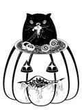 Ramen y gato en la calabaza ilustración del vector