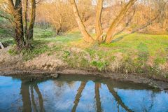 Ramenka小河的镇静流程 加强的春天阳光唤醒自然 免版税库存照片