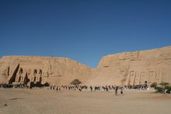 Rameses och Nefertari tempel på Abu Simble Royaltyfria Bilder